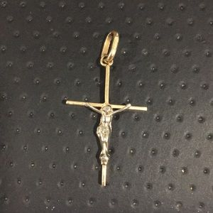 14k Two Tone Gold Cross Pendant With Crucifix